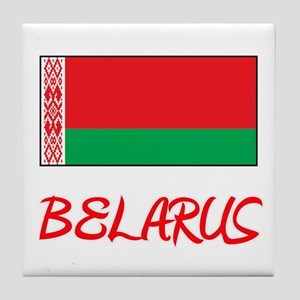 Belarus Flag Artistic Red Design Tile Coaster